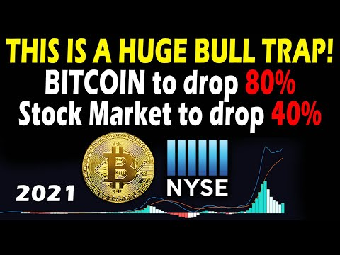 80% Bitcoin Crash and 40% US Stock Market drop Soon! 2021 BTC bubble is about to pop!