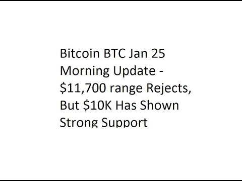 Bitcoin BTC Jan 25 Morning Update - $11,700 range Rejects, But $10K Has Shown Strong Support