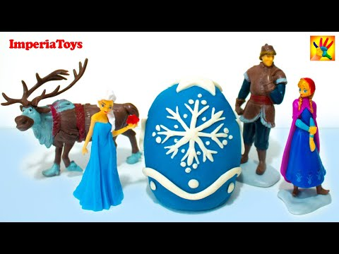Play Doh Frozen Biggest Egg with disney toys